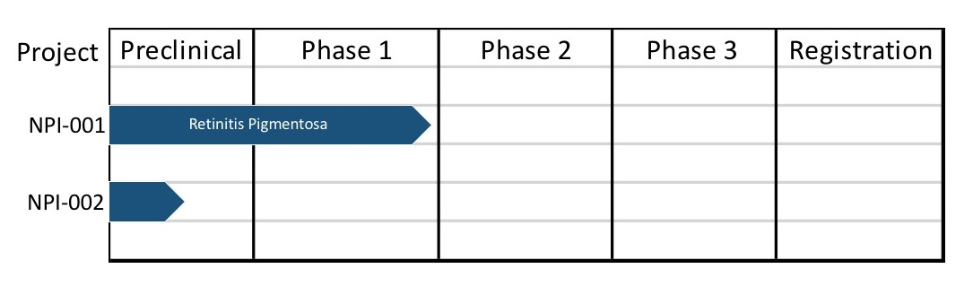 a graphic showing the pipeline stages from Preclinical through Phases 1, 2, 3, and Registration. NPI-001 has reached Phase 1, NPI-002 is in Preclinical.